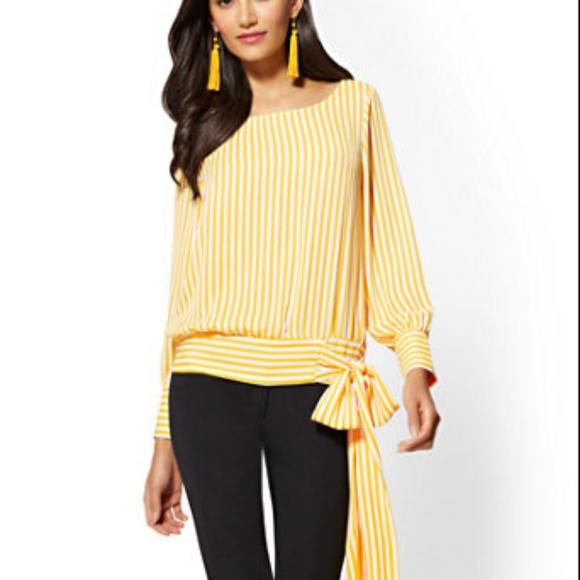 764a1877234 NWT - NY & CO SIDE-TIE SCOOPNECK BLOUSE - STRIPE NWT